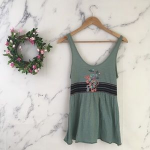 Free People Embroidered Sequin Tank Top
